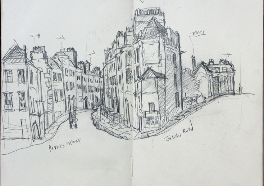 drawing of a Street_view_in_Bath 2