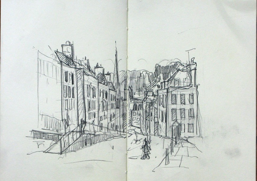 drawing of a Street_view_in_Bath 3