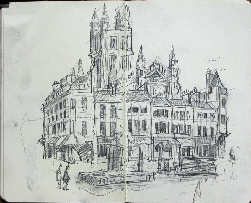 drawing of a church in Bath