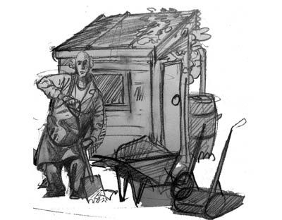 man in shed