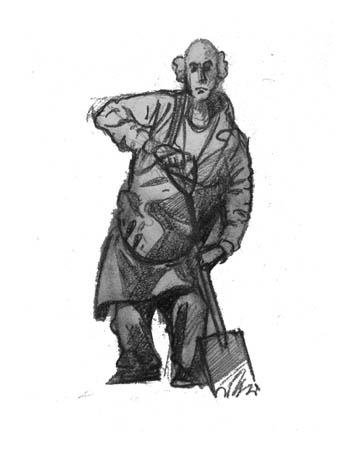 man shovel facing