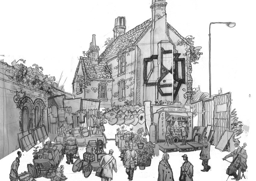 A drawing of Brick Lane