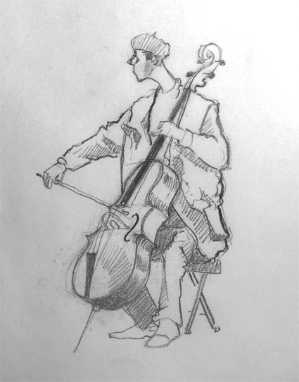 Drawing of cello player in Brick Lane