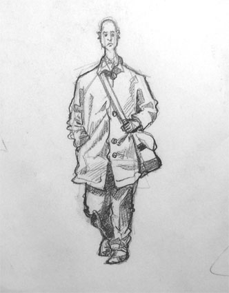 a drawing of man walking in Brick Lane