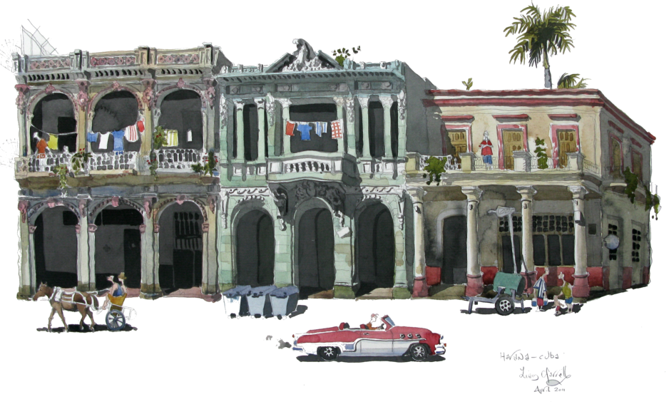watercolour of street in Havana street