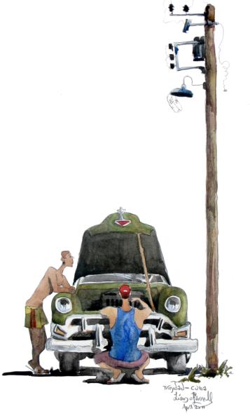 watercolour of cuban cars