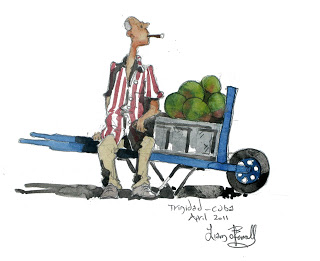 Watercolour painting of a man man selling melons