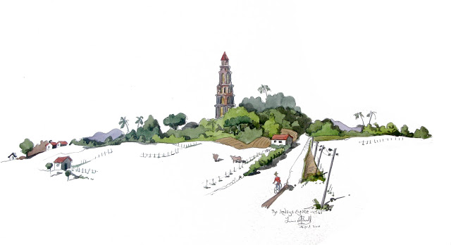 watercolour of the Inzagna Tower, cuba
