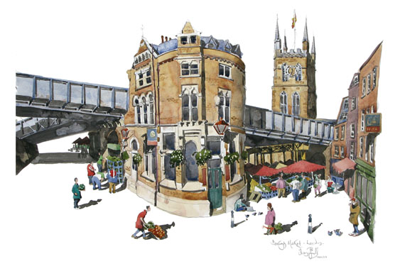 A water colour painting of Borough Market