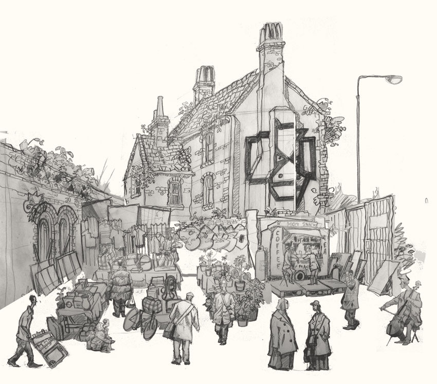 Building  in sclater Street Market drawing