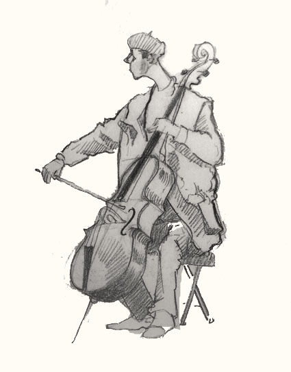 cello player  in sclater Street Market drawing
