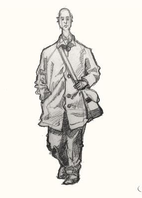 man walking in sclater Street Market