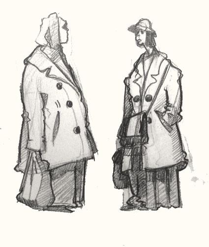 women in sclater Street Market drawing