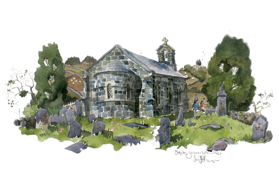 Watercolour painting of Btws Garmon church