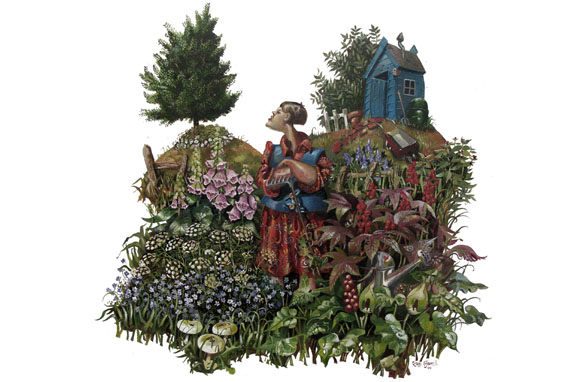 Oil painting of a garden