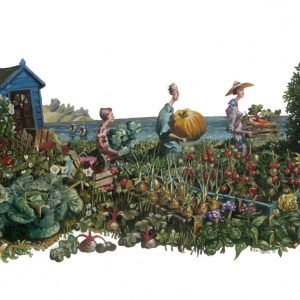 Oil painting of an allotment fair