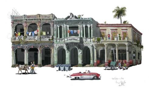 a painting of Havana, Cuba