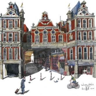 Watercolour painting of Leadenhall Market