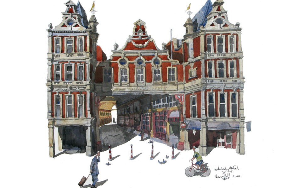 Watercolour painting of Leadenhall Market