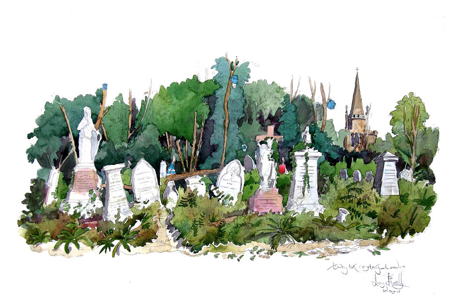 Painting of Abney Road Cemetery, Hackney, London
