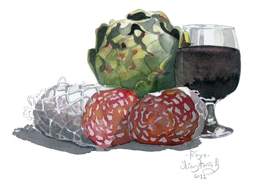 watercolour of Local food and wine