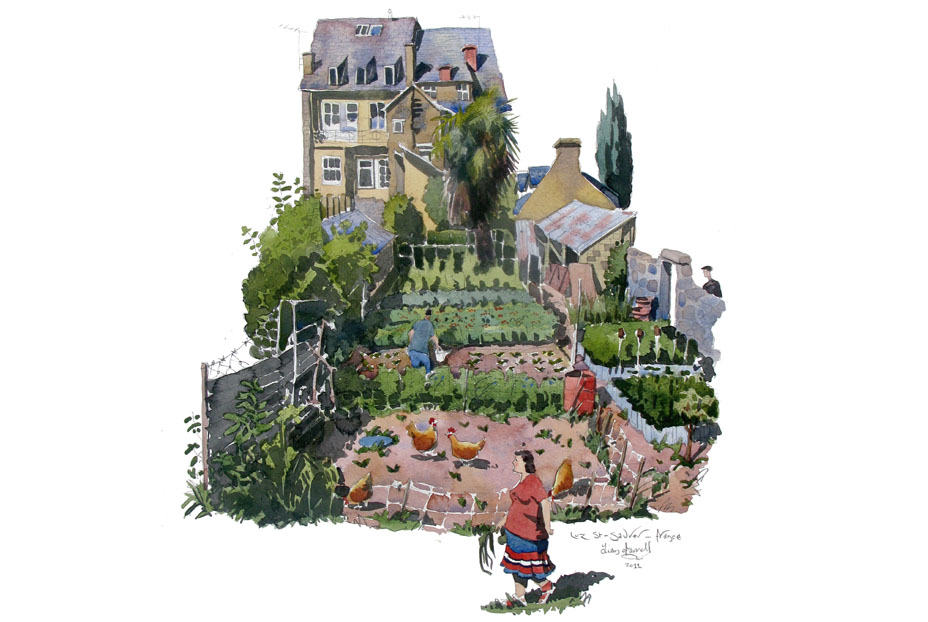 watercolour painting of  A garden in Luz-St-Sauveur