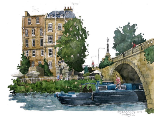Painting of North Parade Bridge, Bath