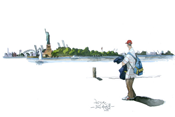 A painting of the view from battery park