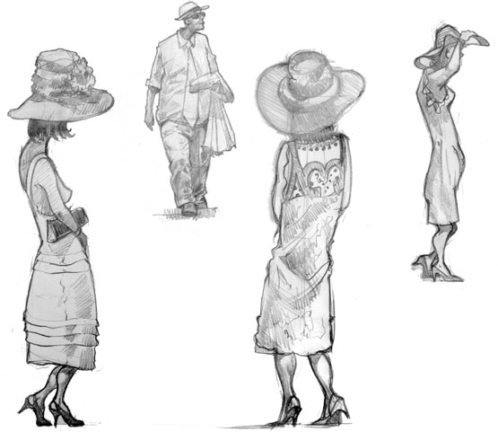drawing of  Women at Goodwood drinking and enjoying the afternoon