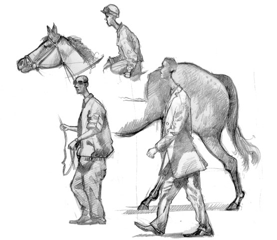 A drawing of a horse, jockey and trainer at Goodwood
