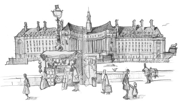 Drawing of County Hall, London