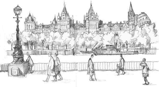 Drawing of the North Bank, London