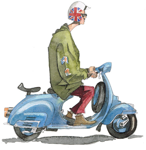 Watercolour of a Vespa Scooter