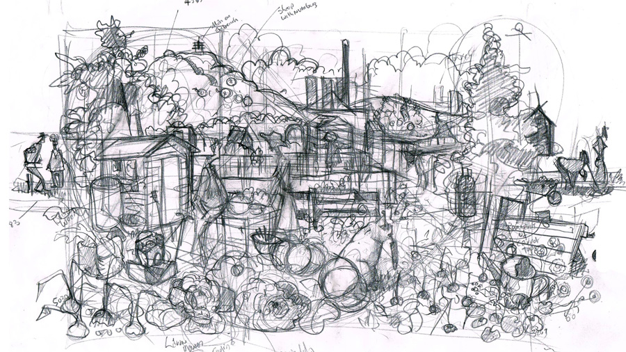 Allotment pencil visual sketch