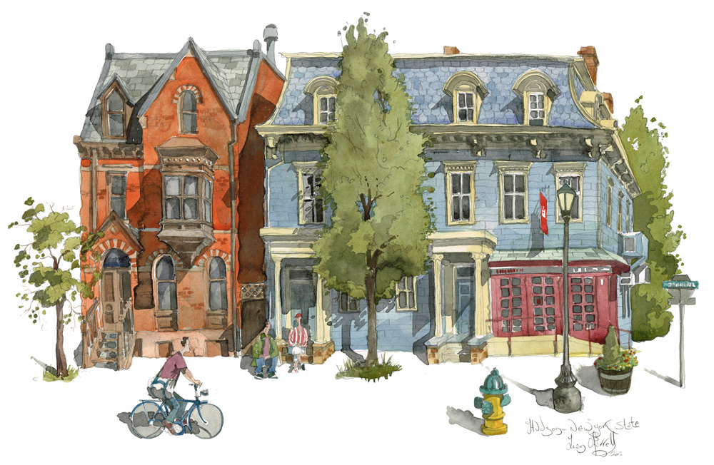 watercolour painting of Warren Street Hudson NY state