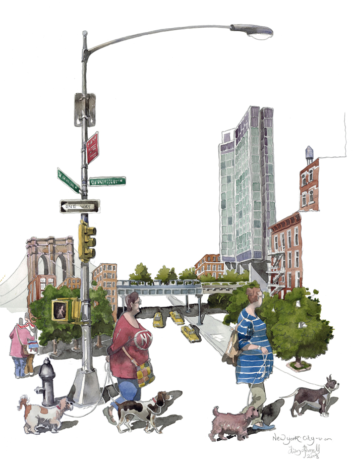 Dogs and ladies of new york City Watercolour