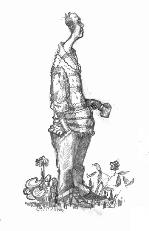 A drawing of a Man in Garden