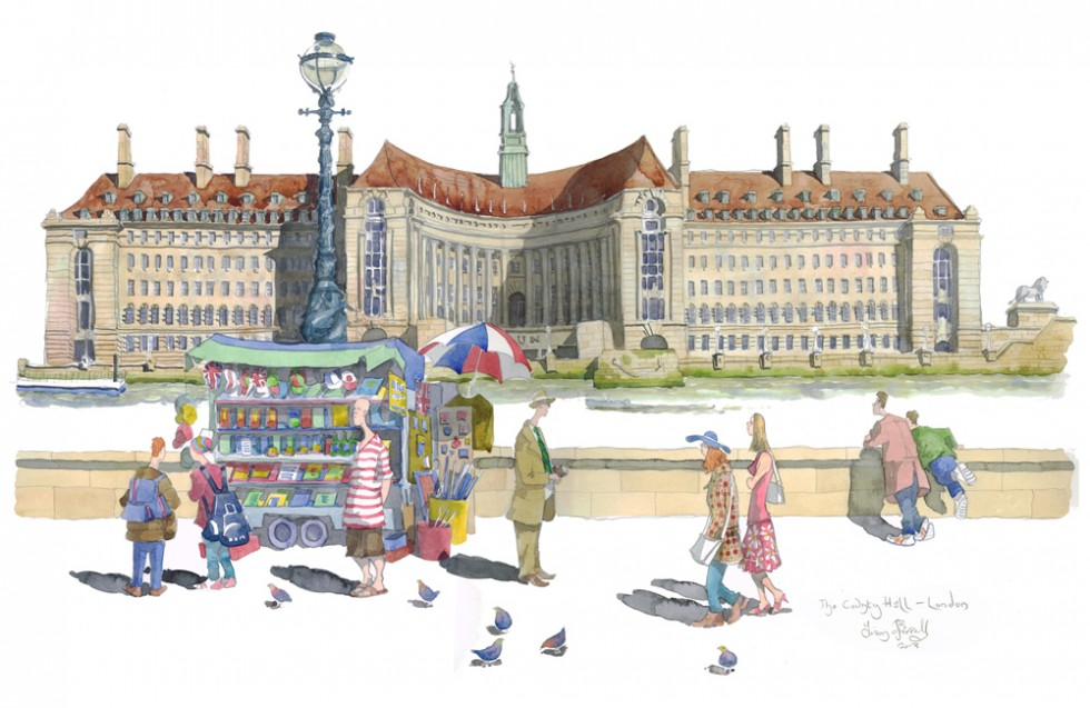 a painting of The County Hall