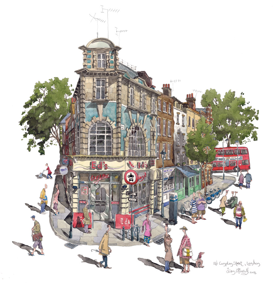 Old Compton Street watercolour