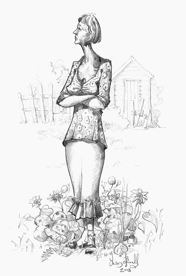 Drawing of a women in an allotment