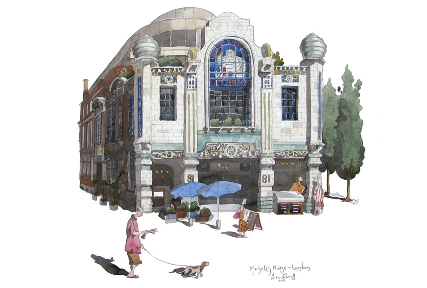 A painting of Michelin House, London