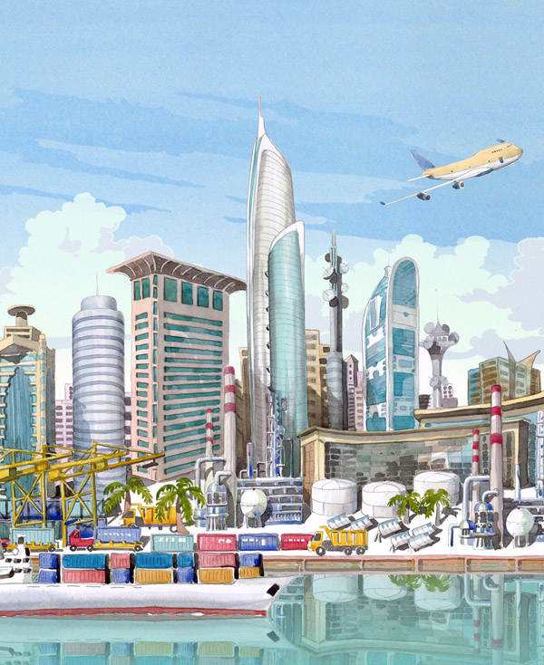 Illustration of Dubai in watercolour