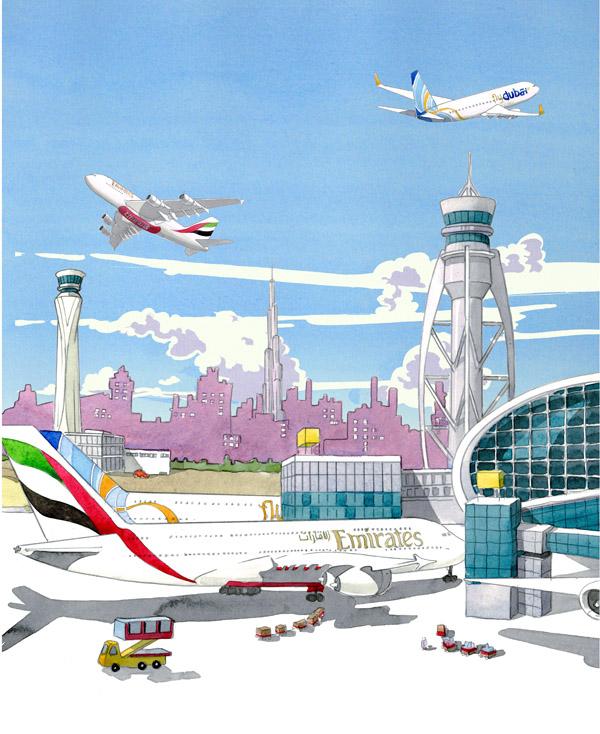 Illustation of Dubai airport