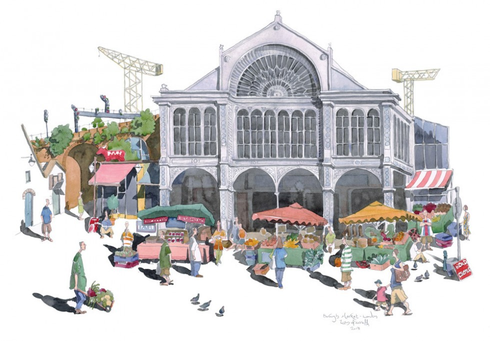 A watercolour of Brough Market in London