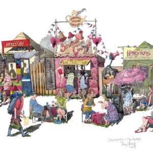 Watercolour painting of the Glastonbury festival