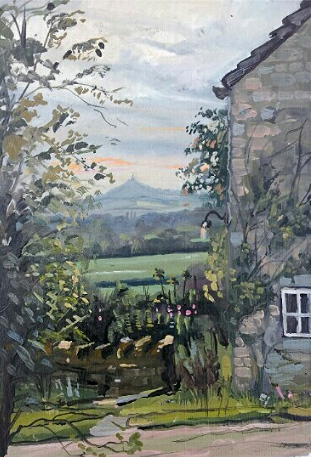 A quick oil painting of Glastonbury Tor