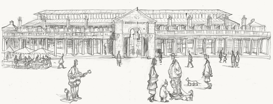 Covent Garden Piazza inital drawing