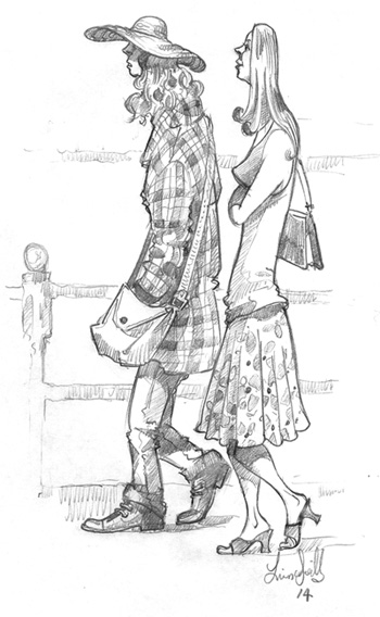 Drawing of two girls by the river Thames