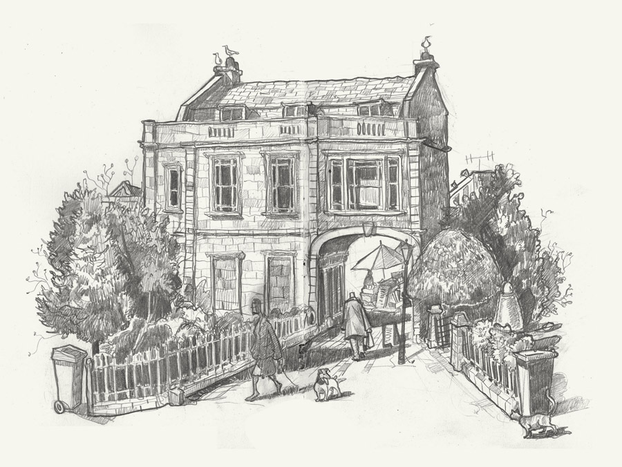 Drawing of Victoria square, Clifton, Bristol