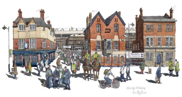 A watercolour of Tottenham Hotspur football stadium